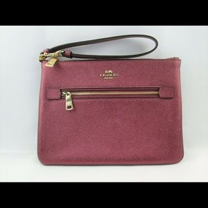 Coach Large Wristlet Gallery Pouch Metallic Wine